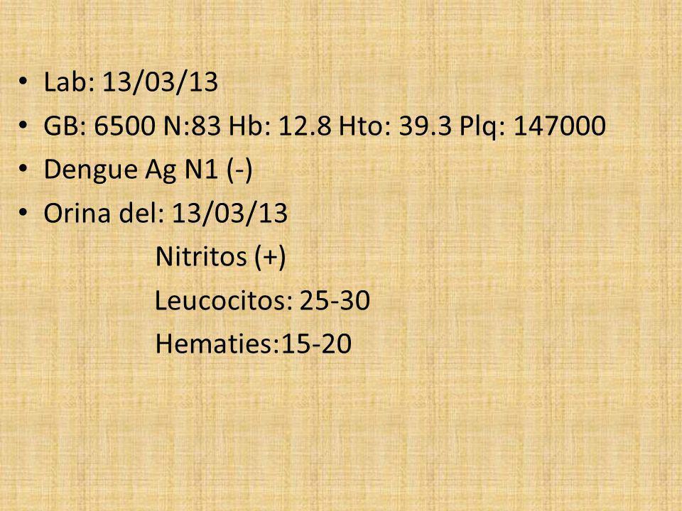Lab: 13/03/13 GB: 6500 N:83 Hb: 12.8 Hto: 39.3 Plq: 147000 Dengue Ag N1 (-) Orina del: 13/03/13 Nitritos (+) Leucocitos: 25-30 Hematies:15-20