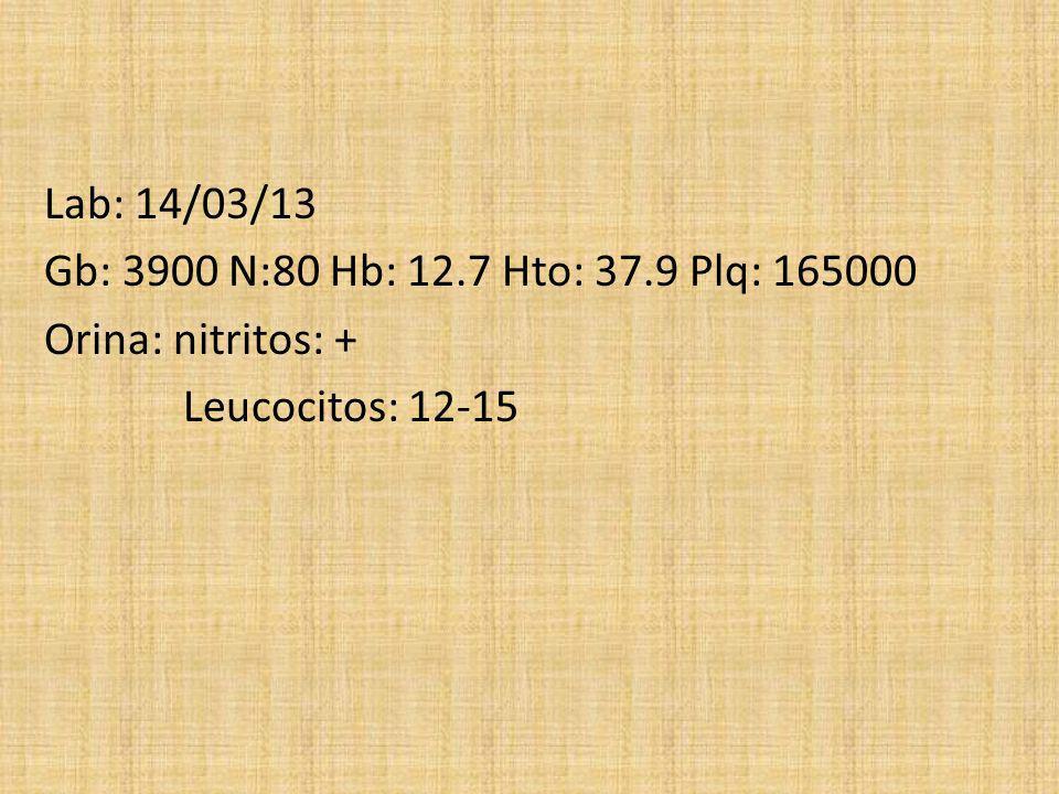 Lab: 14/03/13 Gb: 3900 N:80 Hb: 12.7 Hto: 37.9 Plq: 165000 Orina: nitritos: + Leucocitos: 12-15