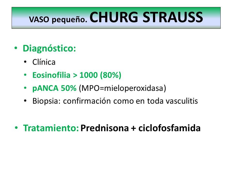 Diagnóstico: Clínica Eosinofilia > 1000 (80%) pANCA 50% (MPO=mieloperoxidasa) Biopsia: confirmación como en toda vasculitis Tratamiento: Prednisona +