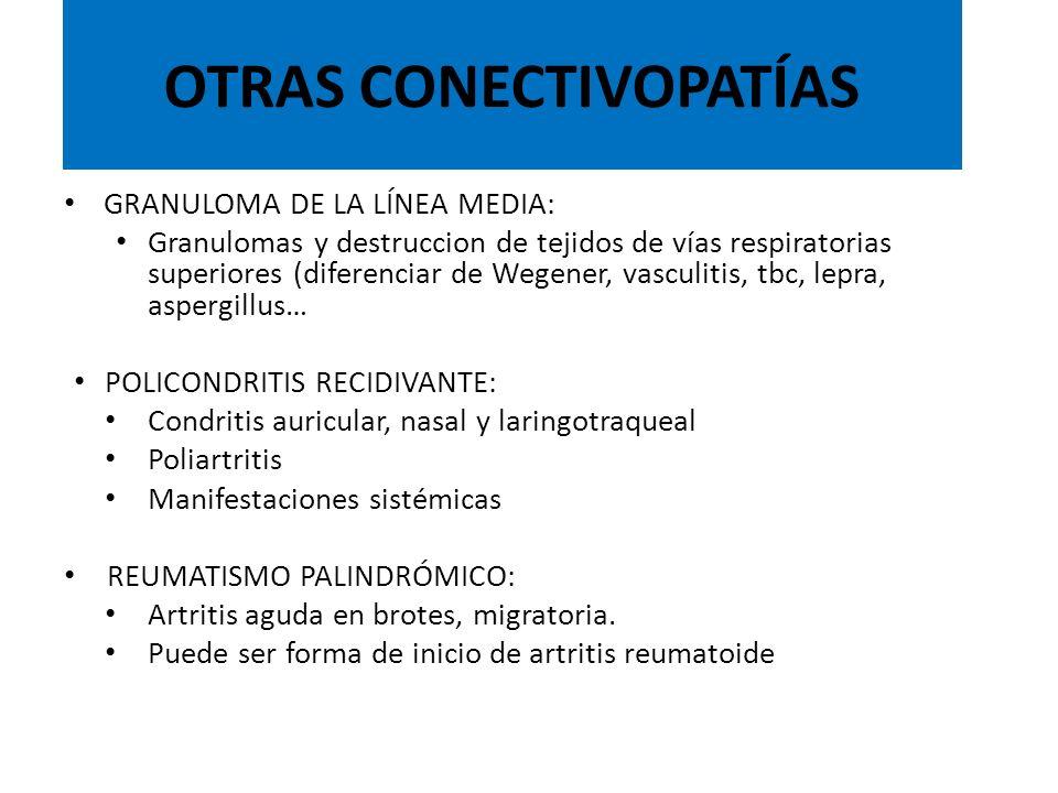 GRANULOMA DE LA LÍNEA MEDIA: Granulomas y destruccion de tejidos de vías respiratorias superiores (diferenciar de Wegener, vasculitis, tbc, lepra, asp