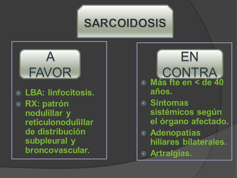 LBA: linfocitosis. RX: patrón nodulillar y reticulonodulillar de distribución subpleural y broncovascular. Más fte en < de 40 años. Síntomas sistémico