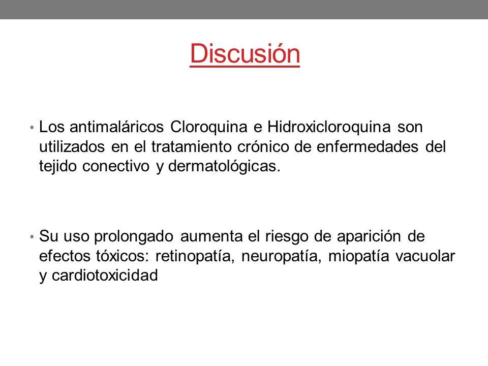 Discusión Los antimaláricos Cloroquina e Hidroxicloroquina son utilizados en el tratamiento crónico de enfermedades del tejido conectivo y dermatológi