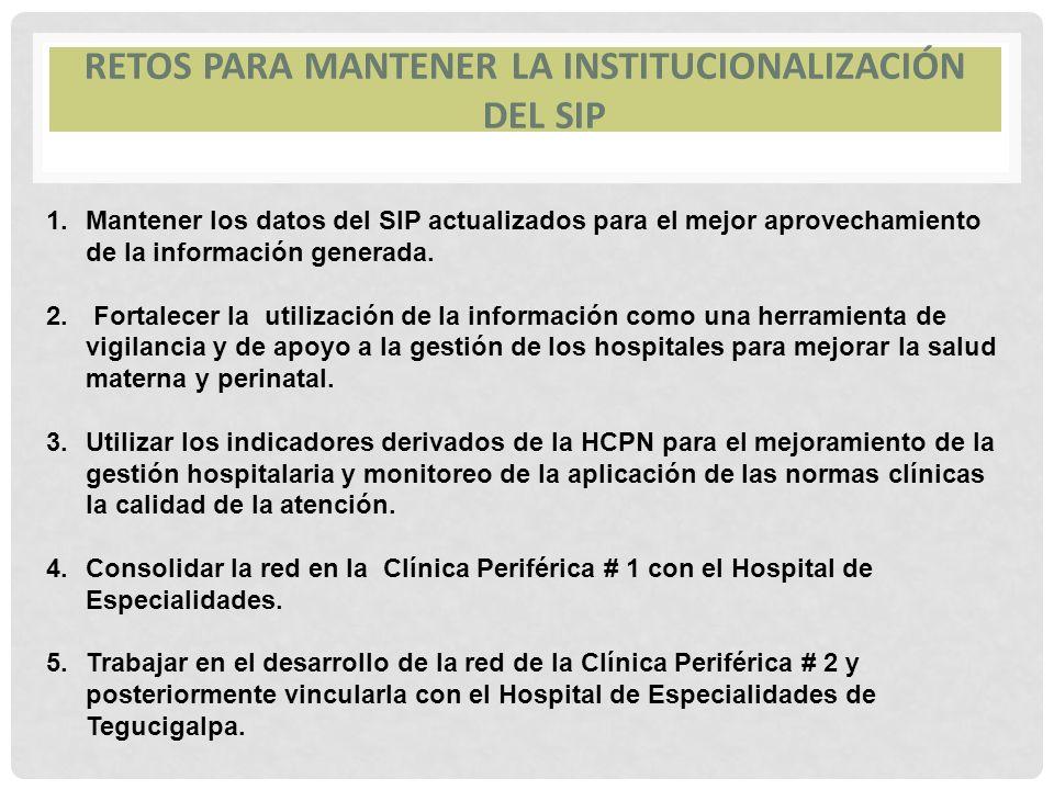 RETOS PARA MANTENER LA INSTITUCIONALIZACIÓN DEL SIP 1.Mantener los datos del SIP actualizados para el mejor aprovechamiento de la información generada