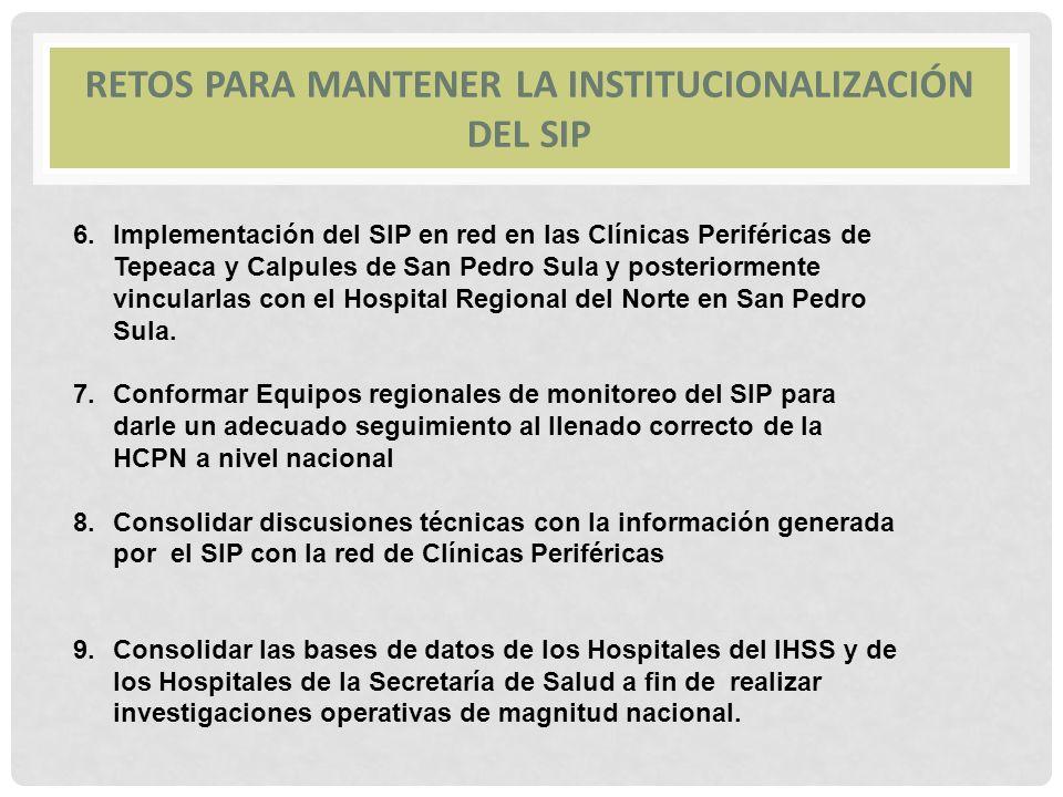 RETOS PARA MANTENER LA INSTITUCIONALIZACIÓN DEL SIP 6.Implementación del SIP en red en las Clínicas Periféricas de Tepeaca y Calpules de San Pedro Sul