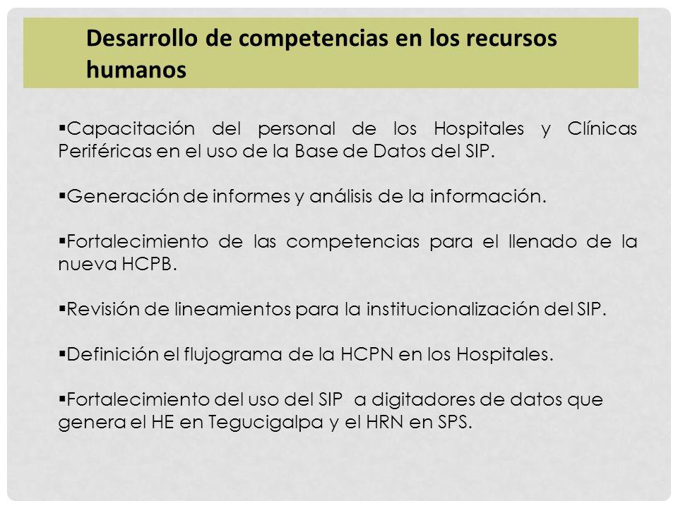 Capacitación del personal de los Hospitales y Clínicas Periféricas en el uso de la Base de Datos del SIP. Generación de informes y análisis de la info
