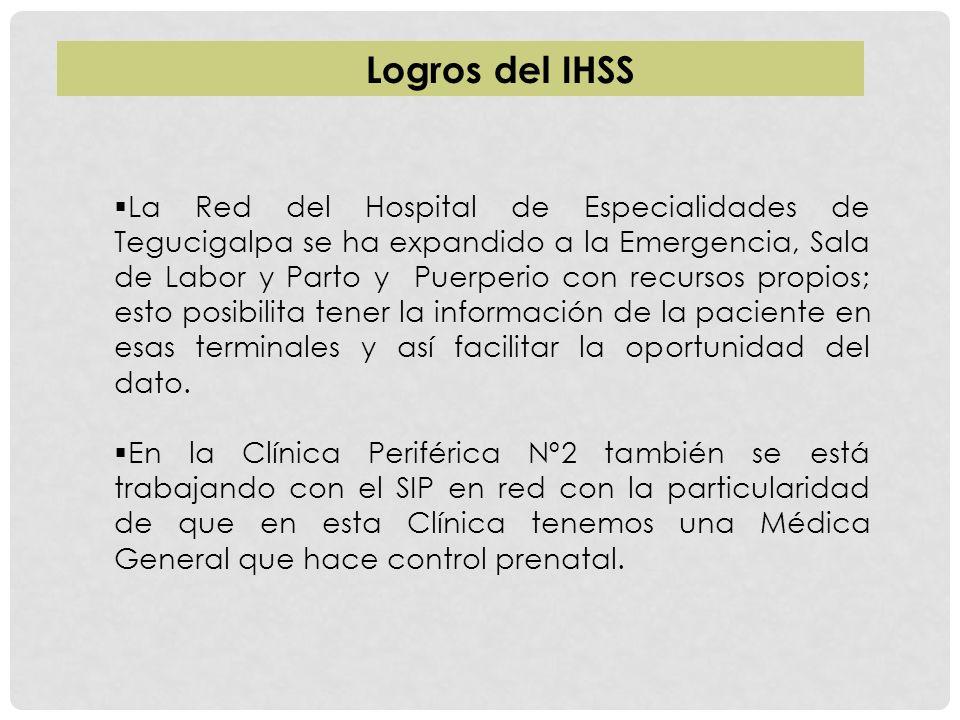La Red del Hospital de Especialidades de Tegucigalpa se ha expandido a la Emergencia, Sala de Labor y Parto y Puerperio con recursos propios; esto pos