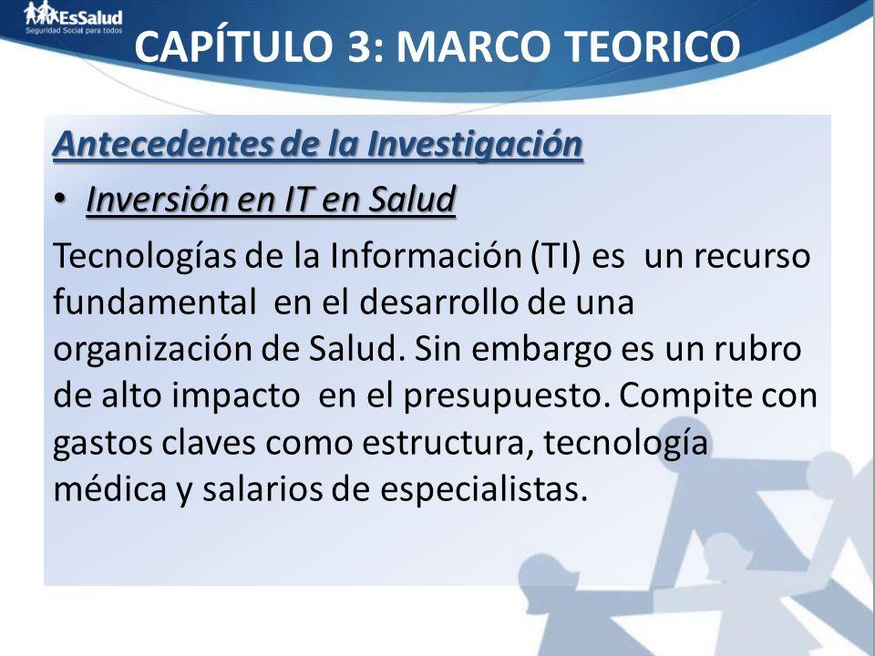 CAPÍTULO 3: MARCO TEORICO Antecedentes de la Investigación Inversión en IT en Salud Inversión en IT en Salud Tecnologías de la Información (TI) es un