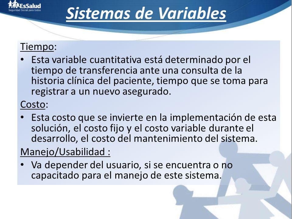 Sistemas de Variables Tiempo: Esta variable cuantitativa está determinado por el tiempo de transferencia ante una consulta de la historia clínica del
