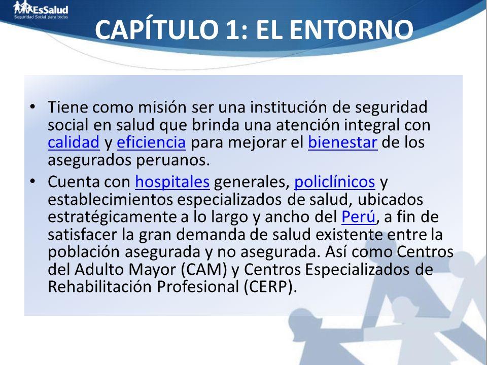 CAPÍTULO 1: EL ENTORNO Tiene como misión ser una institución de seguridad social en salud que brinda una atención integral con calidad y eficiencia pa