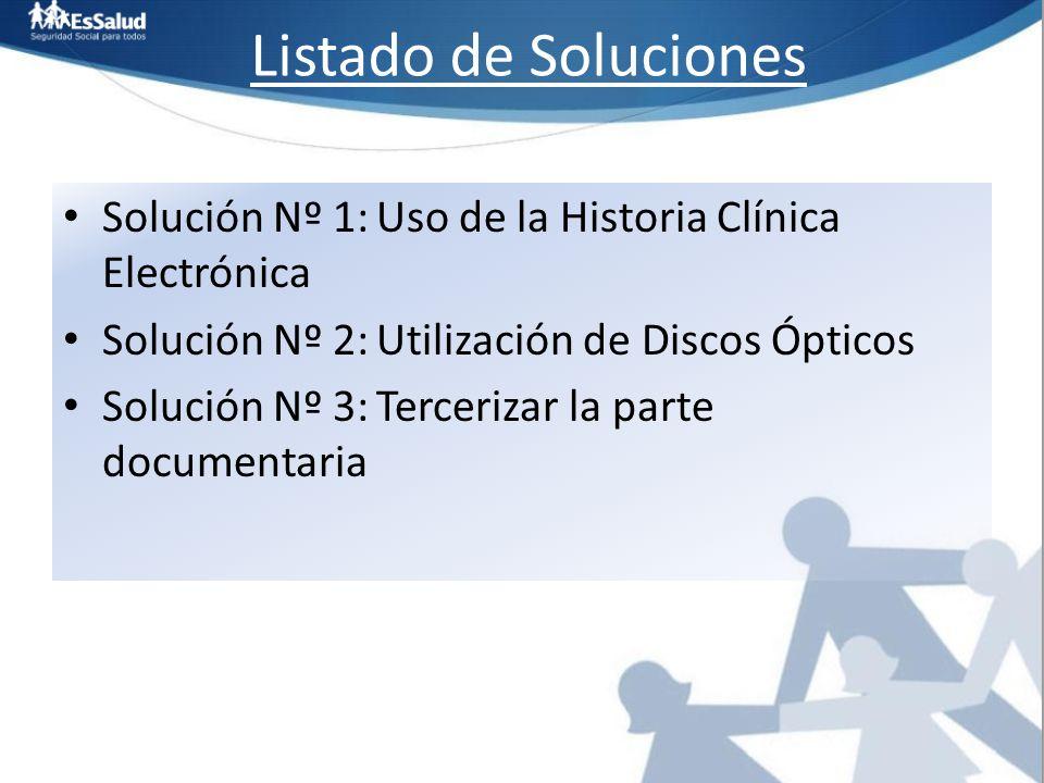 Listado de Soluciones Solución Nº 1:Uso de la Historia Clínica Electrónica Solución Nº 2:Utilización de Discos Ópticos Solución Nº 3:Tercerizar la par