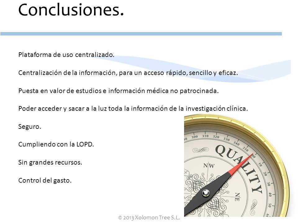 © 2013 Xolomon Tree S.L. Conclusiones. Plataforma de uso centralizado. Centralización de la información, para un acceso rápido, sencillo y eficaz. Pue