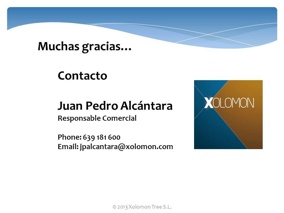 © 2013 Xolomon Tree S.L. Contacto Juan Pedro Alcántara Responsable Comercial Phone: 639 181 600 Email: jpalcantara@xolomon.com Muchas gracias…