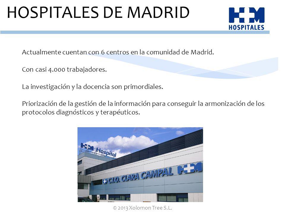 © 2013 Xolomon Tree S.L. HOSPITALES DE MADRID Actualmente cuentan con 6 centros en la comunidad de Madrid. Con casi 4.000 trabajadores. La investigaci