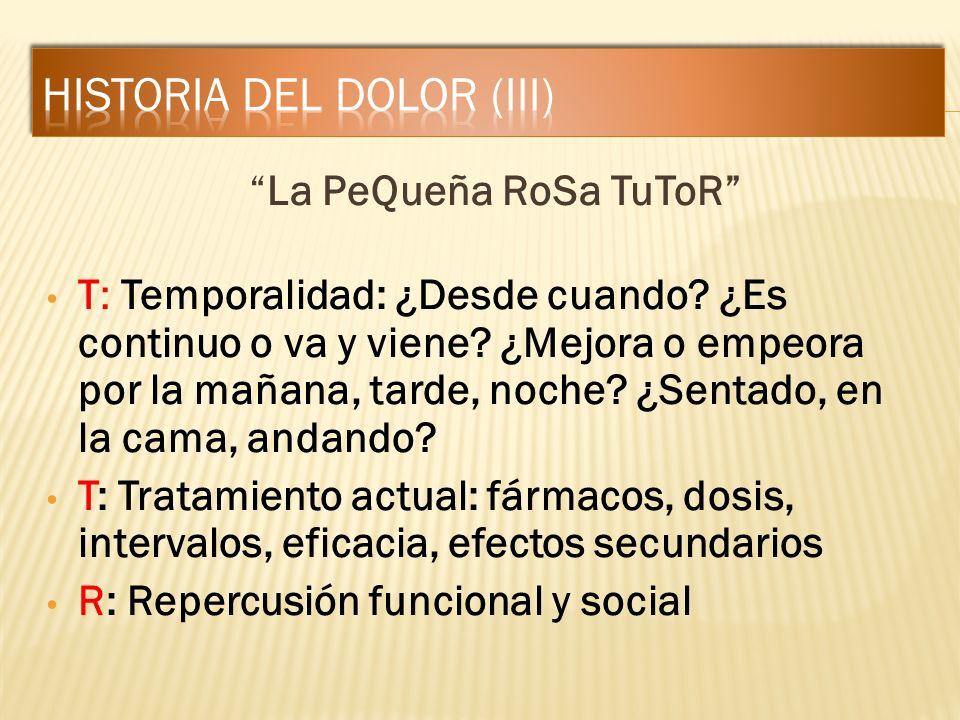 La PeQueña RoSa TuToR T: Temporalidad: ¿Desde cuando? ¿Es continuo o va y viene? ¿Mejora o empeora por la mañana, tarde, noche? ¿Sentado, en la cama,