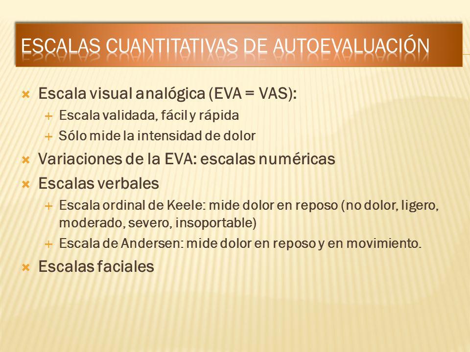 Escala visual analógica (EVA = VAS): Escala validada, fácil y rápida Sólo mide la intensidad de dolor Variaciones de la EVA: escalas numéricas Escalas