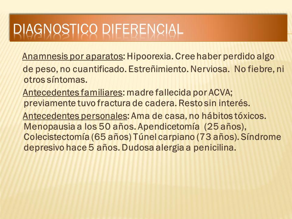 Anamnesis por aparatos: Hipoorexia. Cree haber perdido algo de peso, no cuantificado. Estreñimiento. Nerviosa. No fiebre, ni otros síntomas. Anteceden