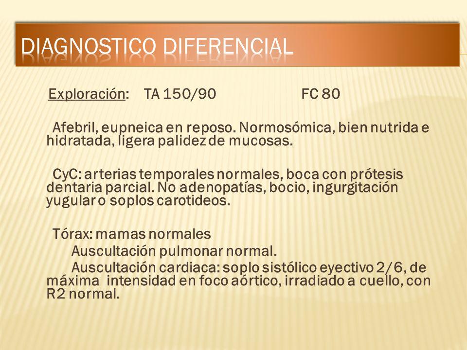 Exploración: TA 150/90 FC 80 Afebril, eupneica en reposo. Normosómica, bien nutrida e hidratada, ligera palidez de mucosas. CyC: arterias temporales n