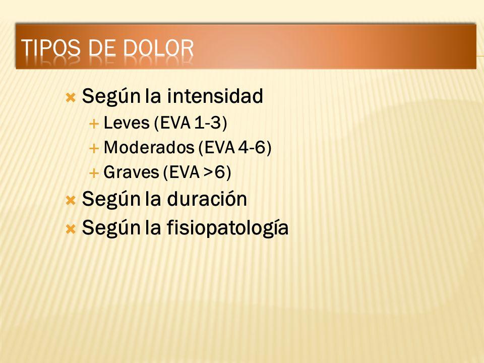 Según la intensidad Leves (EVA 1-3) Moderados (EVA 4-6) Graves (EVA >6) Según la duración Según la fisiopatología