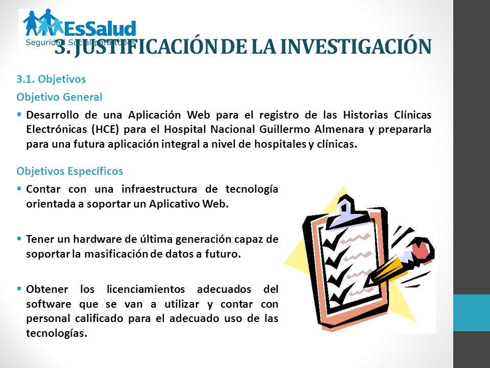 3.1. Objetivos Objetivo General Desarrollo de una Aplicación Web para el registro de las Historias Clínicas Electrónicas (HCE) para el Hospital Nacion