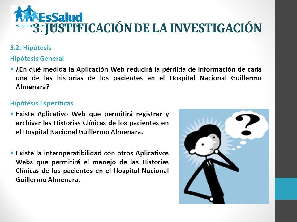 3.2. Hipótesis Hipótesis General ¿En qué medida la Aplicación Web reducirá la pérdida de información de cada una de las historias de los pacientes en