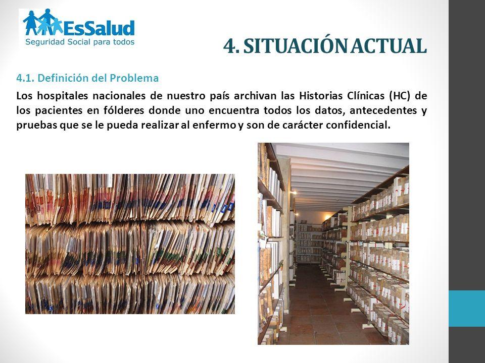 4. SITUACIÓN ACTUAL 4.1. Definición del Problema Los hospitales nacionales de nuestro país archivan las Historias Clínicas (HC) de los pacientes en fó