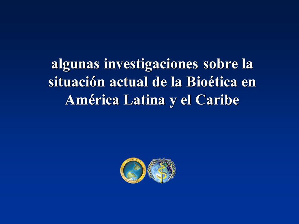 Análisis de la regulación ética en las Américas Encuesta a Organismos Nacionales de Ciencias y Tecnología (ONCYT) de las Américas 1999 – 2002 Comisiones Nacionales de Bioética, Comités de Bioética Asistenciales y de Investigación, existentes en los países de la Región 1995 – 2001 – 2003 Componentes Bioéticos en publicaciones biomédicas de América Latina y el Caribe