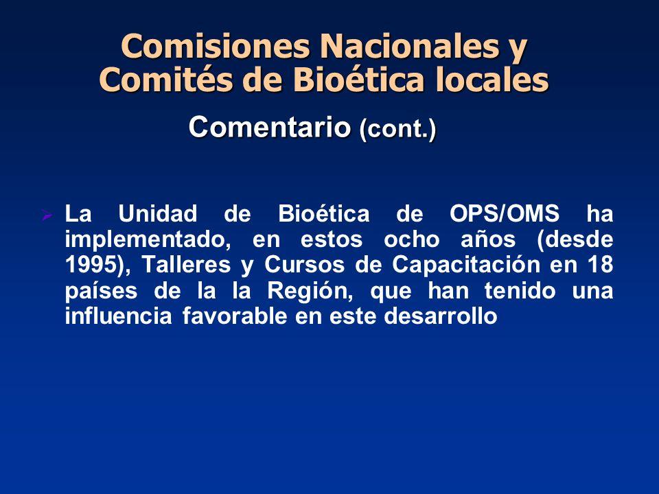 Comentario (cont.) La Unidad de Bioética de OPS/OMS ha implementado, en estos ocho años (desde 1995), Talleres y Cursos de Capacitación en 18 países d