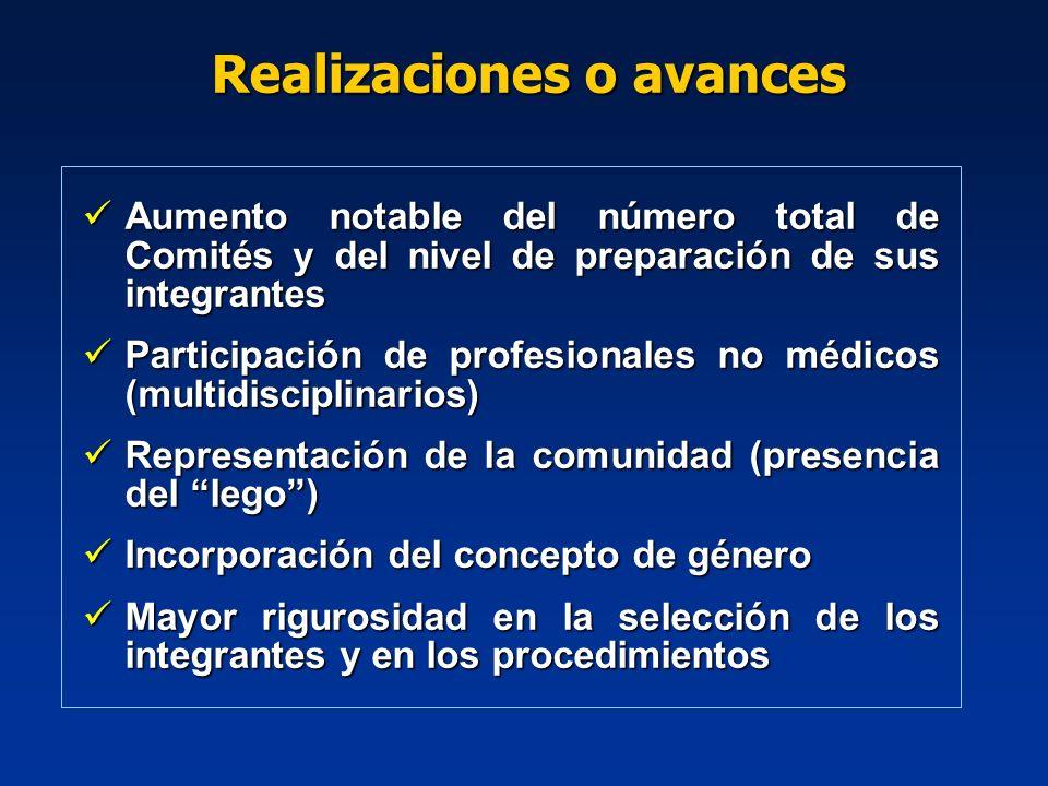 Aumento notable del número total de Comités y del nivel de preparación de sus integrantes Aumento notable del número total de Comités y del nivel de p
