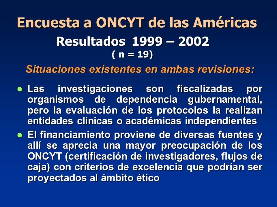 Encuesta a ONCYT de las Américas Situaciones existentes en ambas revisiones: Las investigaciones son fiscalizadas por organismos de dependencia gubern