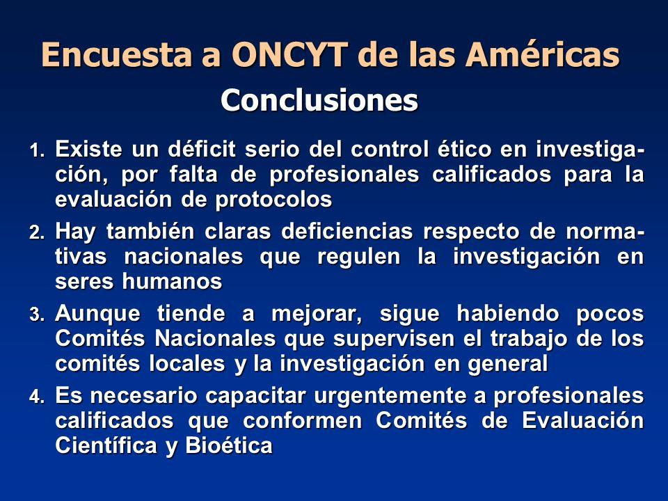 Encuesta a ONCYT de las Américas 1. Existe un déficit serio del control ético en investiga- ción, por falta de profesionales calificados para la evalu