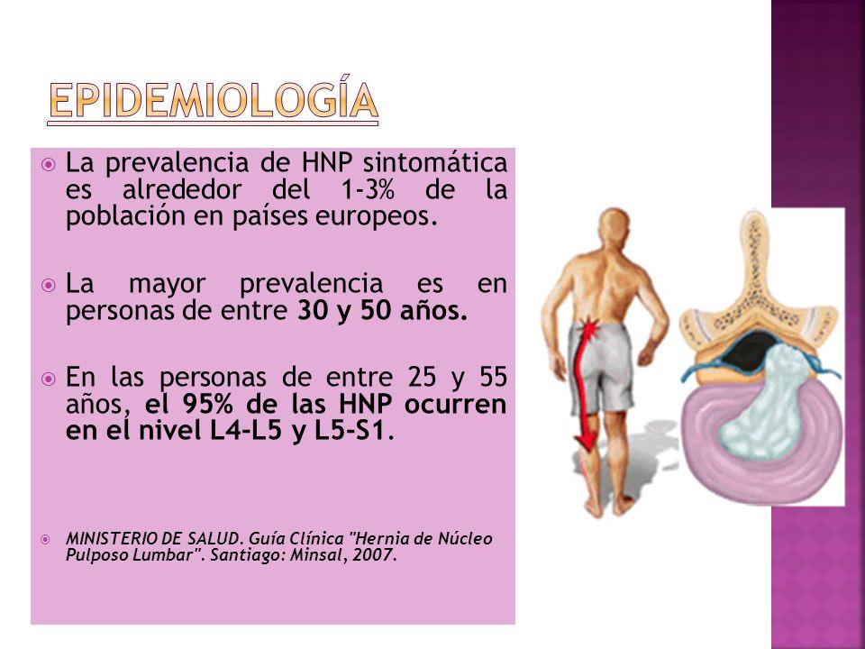 La prevalencia de HNP sintomática es alrededor del 1-3% de la población en países europeos. La mayor prevalencia es en personas de entre 30 y 50 años.