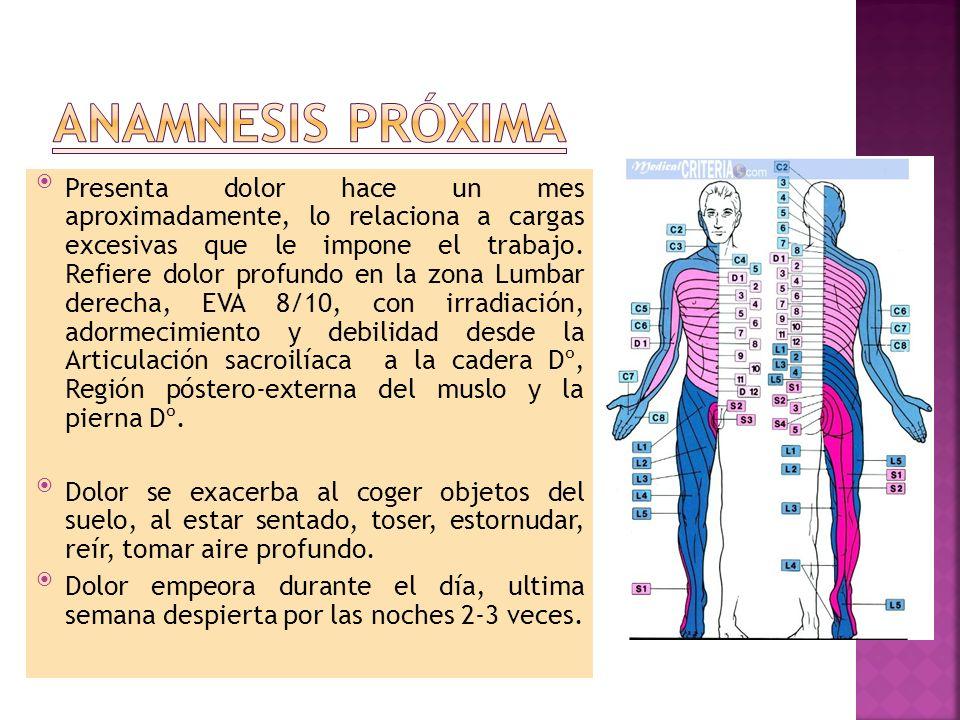 Presenta dolor hace un mes aproximadamente, lo relaciona a cargas excesivas que le impone el trabajo. Refiere dolor profundo en la zona Lumbar derecha