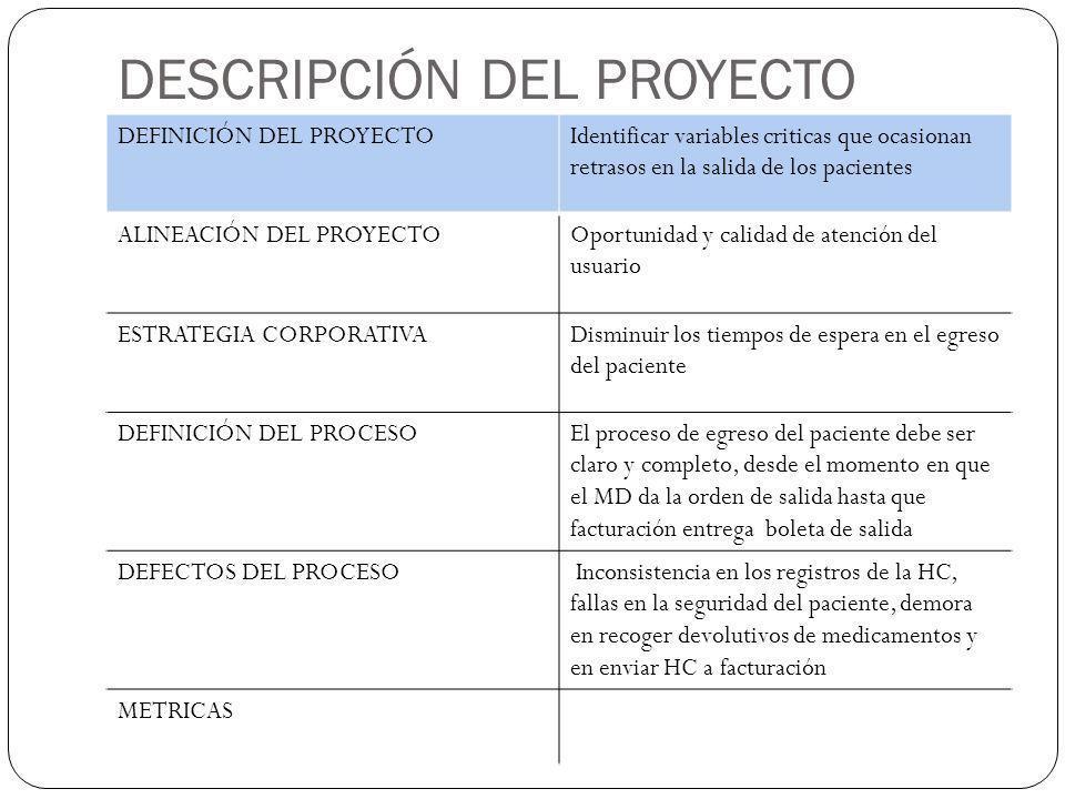 DESCRIPCIÓN DEL PROYECTO DEFINICIÓN DEL PROYECTOIdentificar variables criticas que ocasionan retrasos en la salida de los pacientes ALINEACIÓN DEL PRO