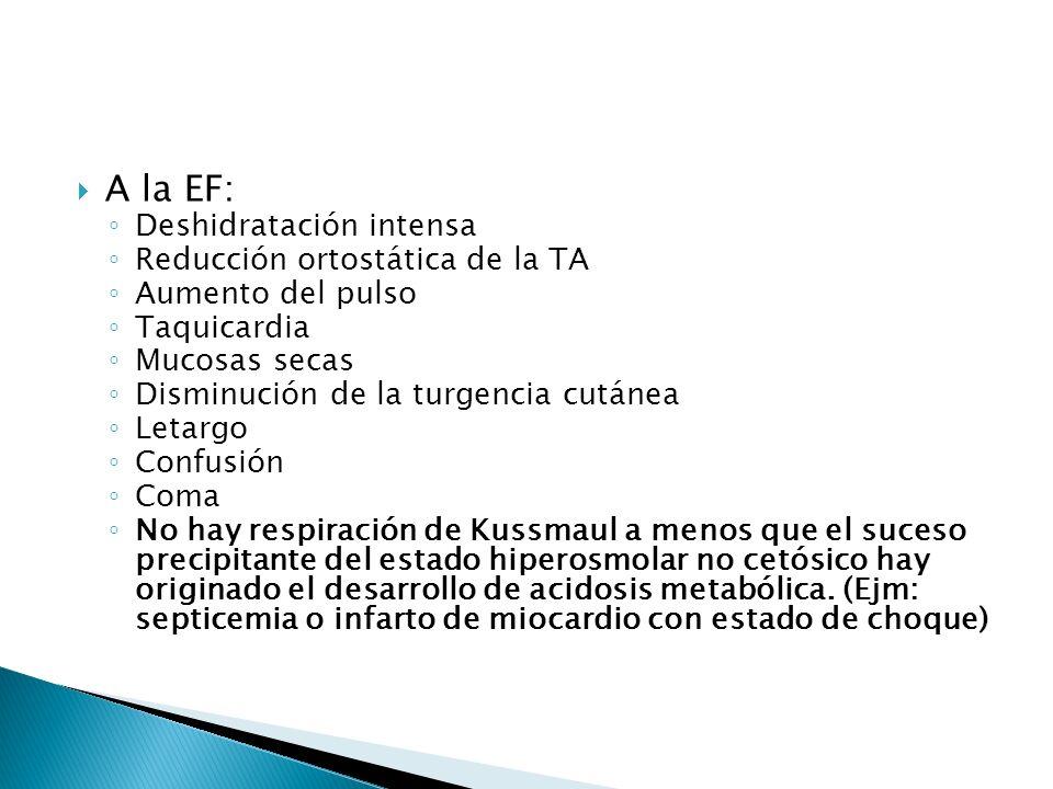A la EF: Deshidratación intensa Reducción ortostática de la TA Aumento del pulso Taquicardia Mucosas secas Disminución de la turgencia cutánea Letargo
