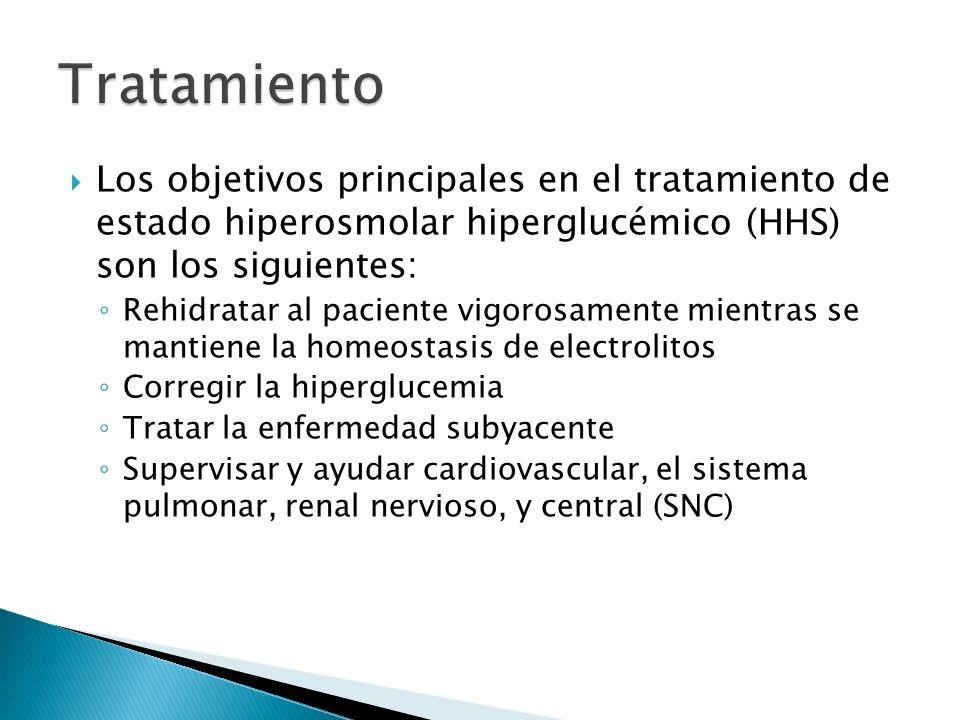 Los objetivos principales en el tratamiento de estado hiperosmolar hiperglucémico (HHS) son los siguientes: Rehidratar al paciente vigorosamente mient