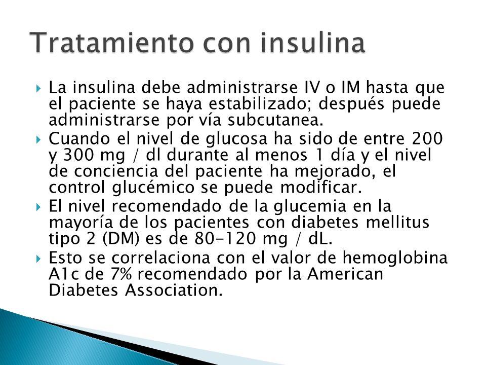 La insulina debe administrarse IV o IM hasta que el paciente se haya estabilizado; después puede administrarse por vía subcutanea. Cuando el nivel de