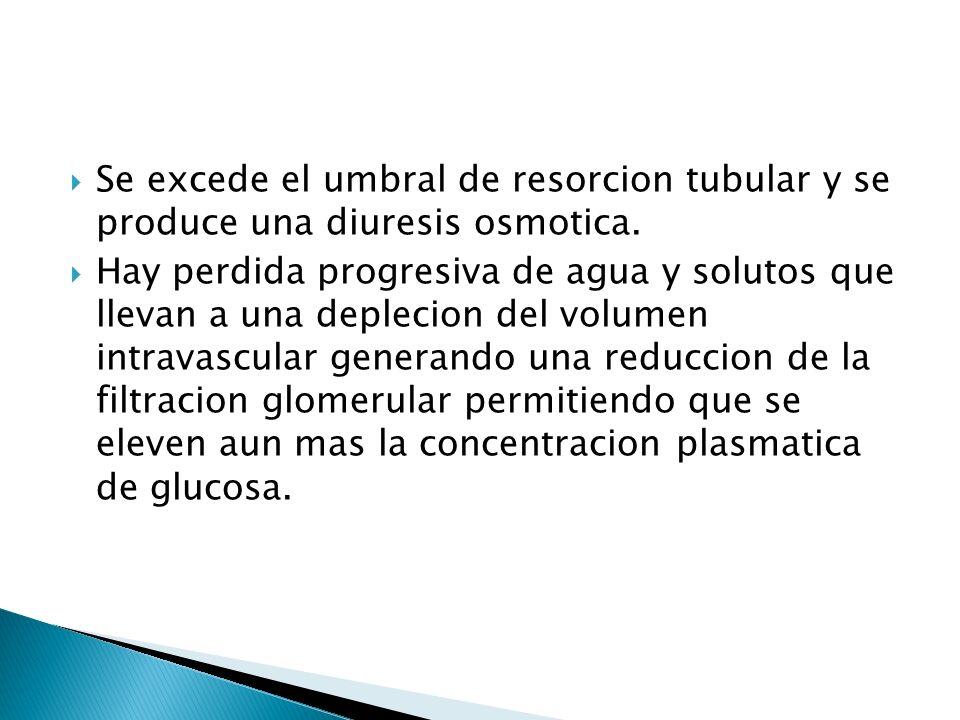 Se excede el umbral de resorcion tubular y se produce una diuresis osmotica. Hay perdida progresiva de agua y solutos que llevan a una deplecion del v