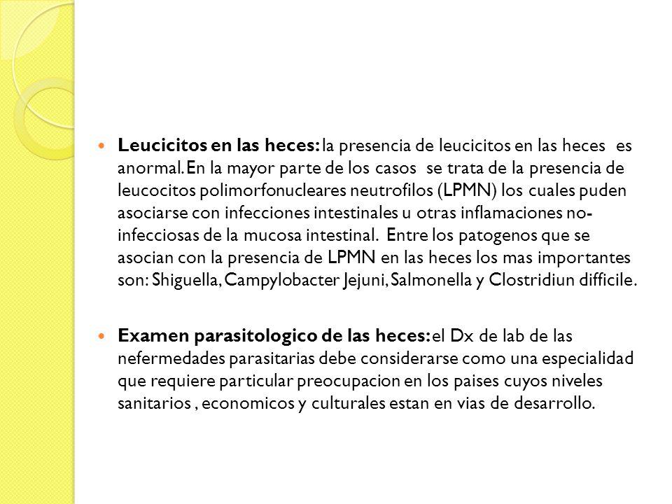 Leucicitos en las heces: la presencia de leucicitos en las heces es anormal. En la mayor parte de los casos se trata de la presencia de leucocitos pol