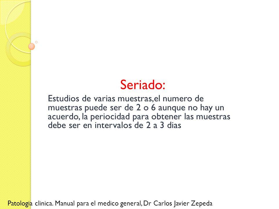 Seriado: Estudios de varias muestras,el numero de muestras puede ser de 2 o 6 aunque no hay un acuerdo, la periocidad para obtener las muestras debe s