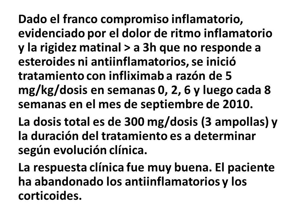 Dado el franco compromiso inflamatorio, evidenciado por el dolor de ritmo inflamatorio y la rigidez matinal > a 3h que no responde a esteroides ni ant