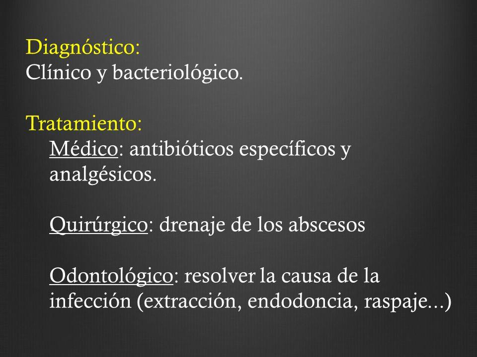 Diagnóstico: Clínico y bacteriológico. Tratamiento: Médico: antibióticos específicos y analgésicos. Quirúrgico: drenaje de los abscesos Odontológico:
