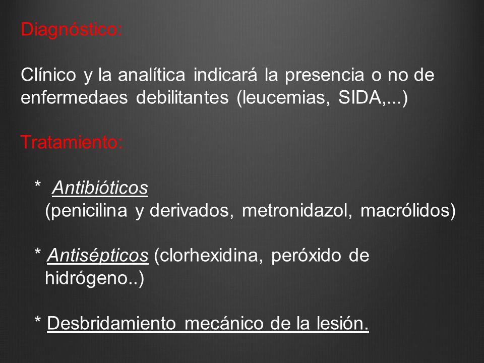 Diagnóstico: Clínico y la analítica indicará la presencia o no de enfermedaes debilitantes (leucemias, SIDA,...) Tratamiento: * Antibióticos (penicili