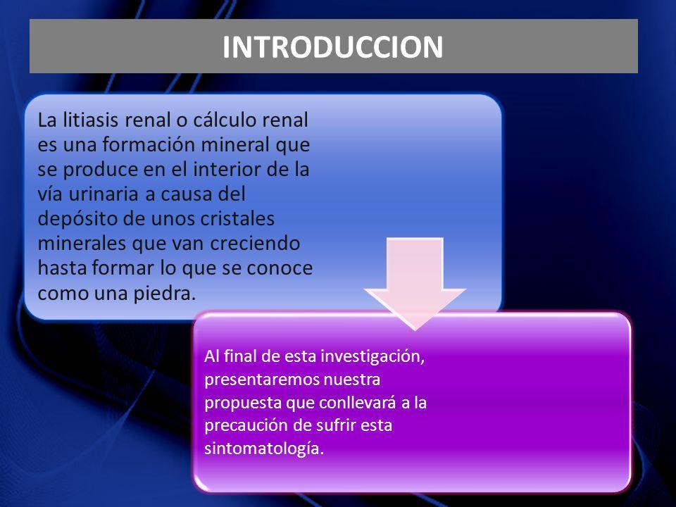 INTRODUCCION La litiasis renal o cálculo renal es una formación mineral que se produce en el interior de la vía urinaria a causa del depósito de unos cristales minerales que van creciendo hasta formar lo que se conoce como una piedra.