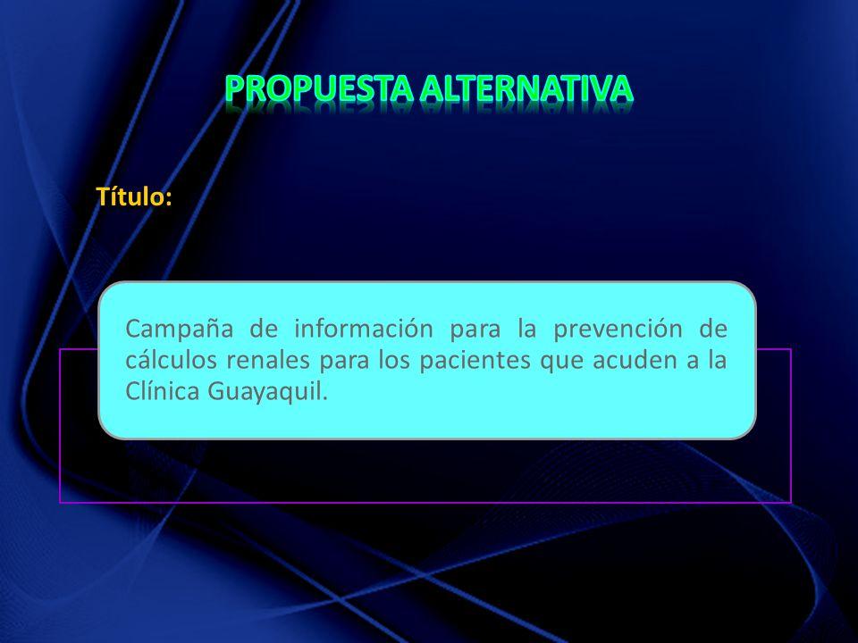 Título: Campaña de información para la prevención de cálculos renales para los pacientes que acuden a la Clínica Guayaquil.