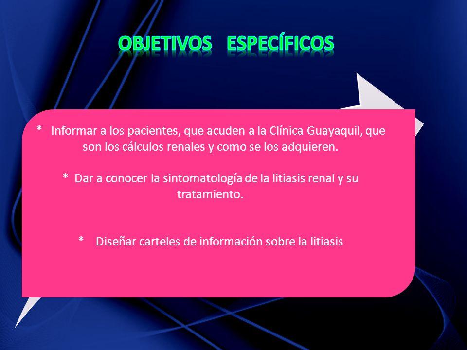 * Informar a los pacientes, que acuden a la Clínica Guayaquil, que son los cálculos renales y como se los adquieren.