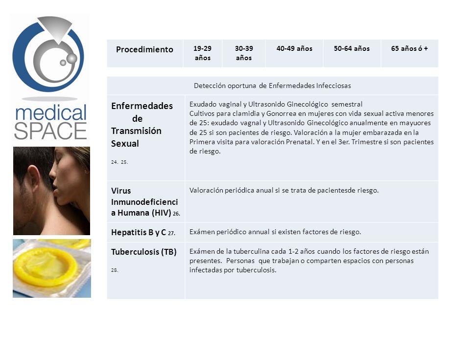 Procedimiento 19-29 años 30-39 años 40-49 años50-64 años65 años ó + Detección oportuna de Enfermedades Infecciosas Enfermedades de Transmisión Sexual