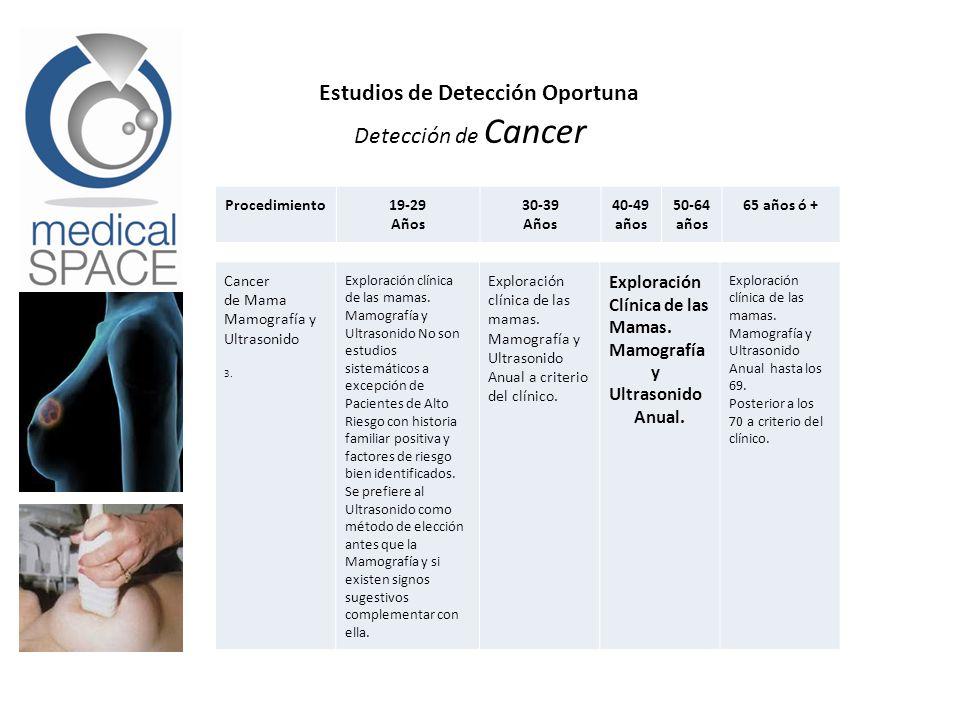 Detección de Cancer Cancer de Mama Mamografía y Ultrasonido 3. Exploración clínica de las mamas. Mamografía y Ultrasonido No son estudios sistemáticos
