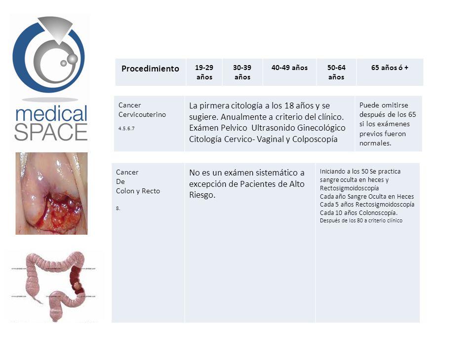 Cancer Cervicouterino 4.5.6.7 La pirmera citología a los 18 años y se sugiere. Anualmente a criterio del clínico. Exámen Pelvico Ultrasonido Ginecológ