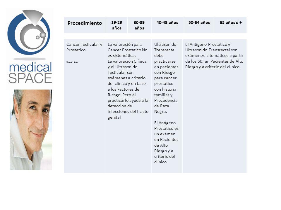 Procedimiento 19-29 años 30-39 años 40-49 años50-64 años65 años ó + Cancer Testicular y Prostatico 9.10.11. La valoración para Cancer Prostatico No es