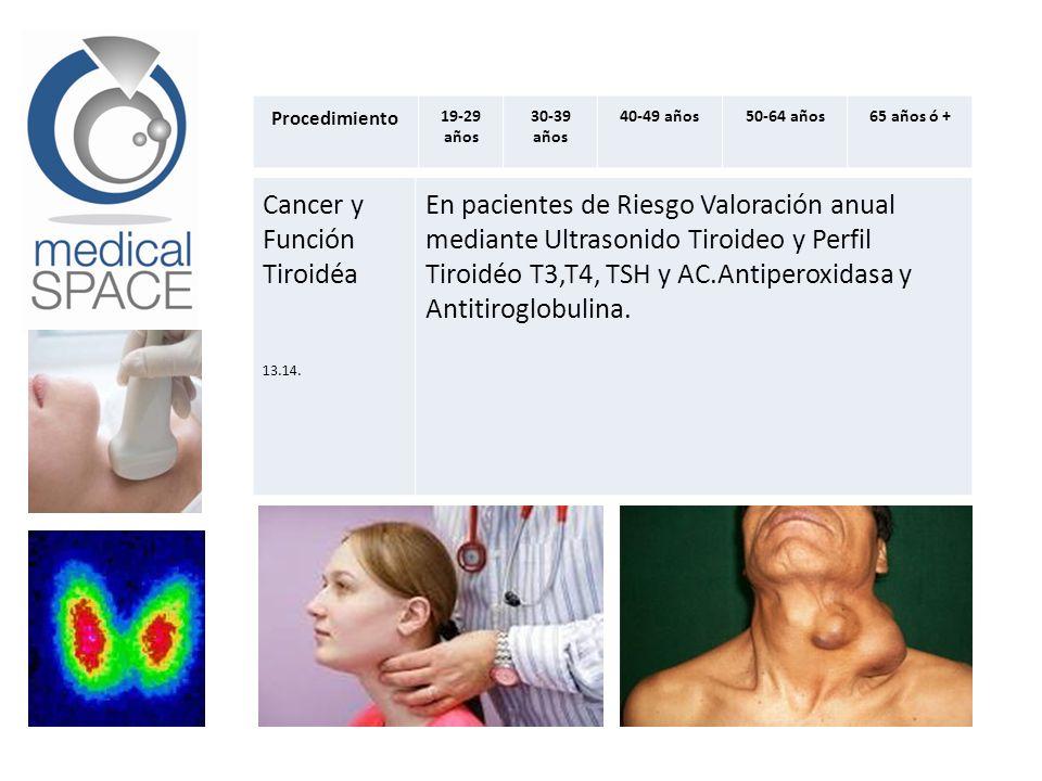 Procedimiento 19-29 años 30-39 años 40-49 años50-64 años65 años ó + Cancer y Función Tiroidéa 13.14. En pacientes de Riesgo Valoración anual mediante